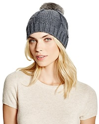 Tory Burch Cable Knit Beanie With Rabbit Fur Pom Pom Gray