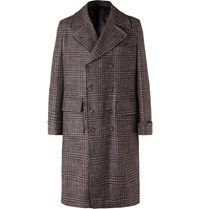 Rubinacci Double Breasted Houndstooth Virgin Wool Linen And Cashmere Blend Overcoat Brown