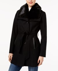 Laundry By Design Faux Fur Collar Belted Coat Black