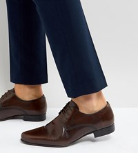 Asos Wide Fit Derby Shoes In Brown Leather
