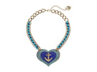 Betsey Johnson Anchor Pave Heart Pendant Necklace Blue Necklace