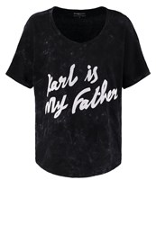 Eleven Paris Karlnew Print Tshirt Acid Wash Black Mottled Black