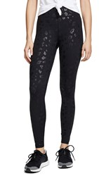 Terez Black Cheetah Foil Leggings Black Foil Cheetah