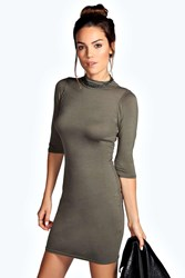 Boohoo High Neck 3 4 Sleeve Bodycon Dress Khaki