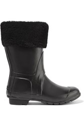 Australia Luxe Collective Dukes Shearling Trimmed Rubber Rain Boots Black
