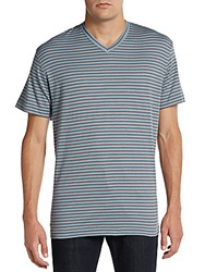 Saks Fifth Avenue Black Slim Fit Striped Ice Cotton V Neck Tee Smoke Blue