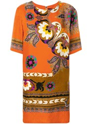 Etro Floral Print Dress Silk Viscose Yellow Orange