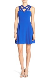 Junior Women's A. Drea Beaded Strap Fit And Flare Dress Royal Blue