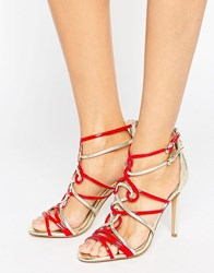 Forever Unique Trina Contrast Heeled Sandal Gold Red