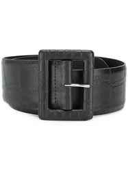 Orciani Embossed Crocodile Effect Belt Black