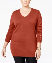Jm Collection Plus Size V Neck Button Sleeve Sweater Only At Macy's Rusty Red