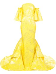 Christian Siriano Long Embroidered Flared Dress Yellow And Orange