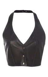 Tome Leather Halter Bustier Top Black