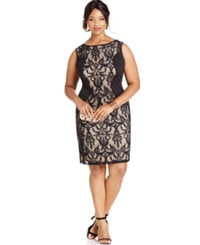 Love Squared Plus Size Lace Panel Sheath Dress Black Nude