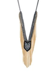 Abs By Allen Schwartz Smoke And Mirrors Fringe Beaded Y Necklace Gold Gunmetal