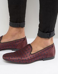 Asos Loafers In Burgundy With Polka Dot Embroidery Burg Navy
