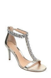 Jewel Badgley Mischka Janna Embellished T Strap Sandal Light Gold Nappa