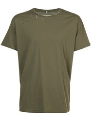 R 13 R13 Distressed T Shirt Cotton Green
