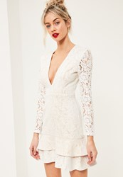 Missguided White Lace Plunge Long Sleeve Frill Shift Dress