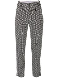Carven Checked Tapered Trousers Polyester Acetate Viscose Black
