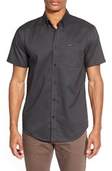 Rvca Men's 'That'll Do' Slim Fit Short Sleeve Oxford Shirt Pirate Black