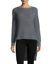 Cirana High Low Cable Knit Sweater Gray