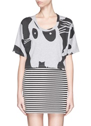 Mcq By Alexander Mcqueen Bunny Print Cropped T Shirt Grey Multi Colour
