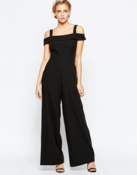 Wal G Jumpsuit With Bardot Neckline Black