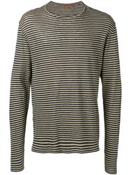 Barena Striped Longsleeved T Shirt Black