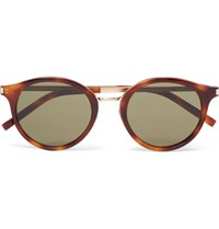 Saint Laurent Round Frame Acetate And Gold Tone Sunglasses Tortoiseshell