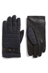 Ted Baker 'Justfab' Quilted Fabric And Leather Gloves Navy