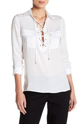 Laundry By Shelli Segal Collared Lace Up Blouse White
