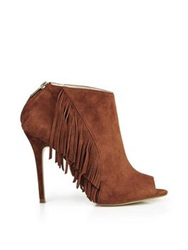 Karen Millen Fringed Peep Toe High Heel Ankle Boot Tan