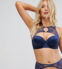 Wolf And Whistle B G Navy Lace Halter Bra Navy