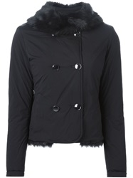 Emporio Armani Faux Fur Lining Double Breasted Jacket Black