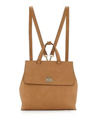 Neiman Marcus Bess Flip Lock Faux Leather Backpack Camel