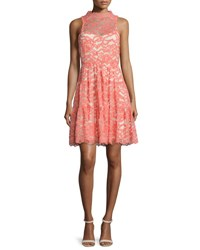 Erin Fetherston Sleeveless Lace Cocktail Dress Coral