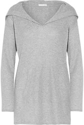 Skin Waffle Knit Cotton Hooded Top Gray