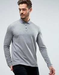 Hugo By Boss Dirage Long Sleeve Polo Pique Double Collar Slim Fit Grey