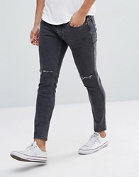 Mango Man Skinny Jeans With Rips In Washed Black Washed Black