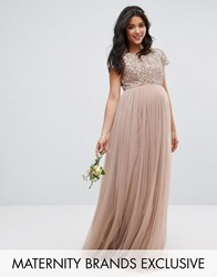 Maya Maternity Maxi Dress With Delicate Sequin And Tulle Skirt Mink Grey