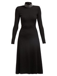 Christopher Kane Crystal Embellished Ribbed Jersey Midi Dress Black