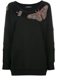 Jo No Fui Butterfly Embroidered Knitted Top Viscose Cotton Polyamide Polyester Black