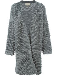 Vanessa Bruno Textured Chunky Knit Long Cardigan Grey