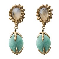 By Natalie Frigo Deco Agate And Chrysoprase Earrings