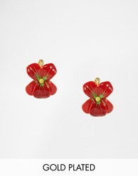 Les Nereides Flower Stud Earrings Red