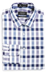 Men's Big And Tall Nordstrom Smartcare Traditional Fit Check Plaid Dress Shirt Purple Wisteria