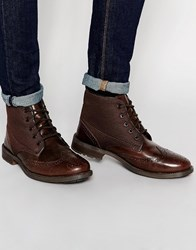 Original Penguin Leather Brogue Boot Brown