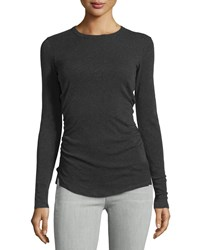 James Perse Skinny Shirred Crewneck Tee Charcoal Grey