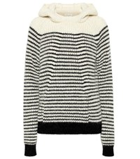 Saint Laurent Striped Wool Blend Hoodie White
